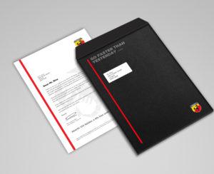 Abarth brand design envelope welcome pack