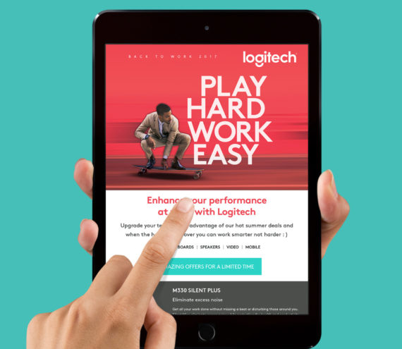 Logitech-email-marketing-tablet