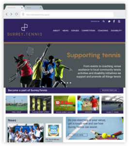 Surrey Tennis branding web design desktop website
