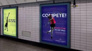 Surrey Tennis branding signage underground